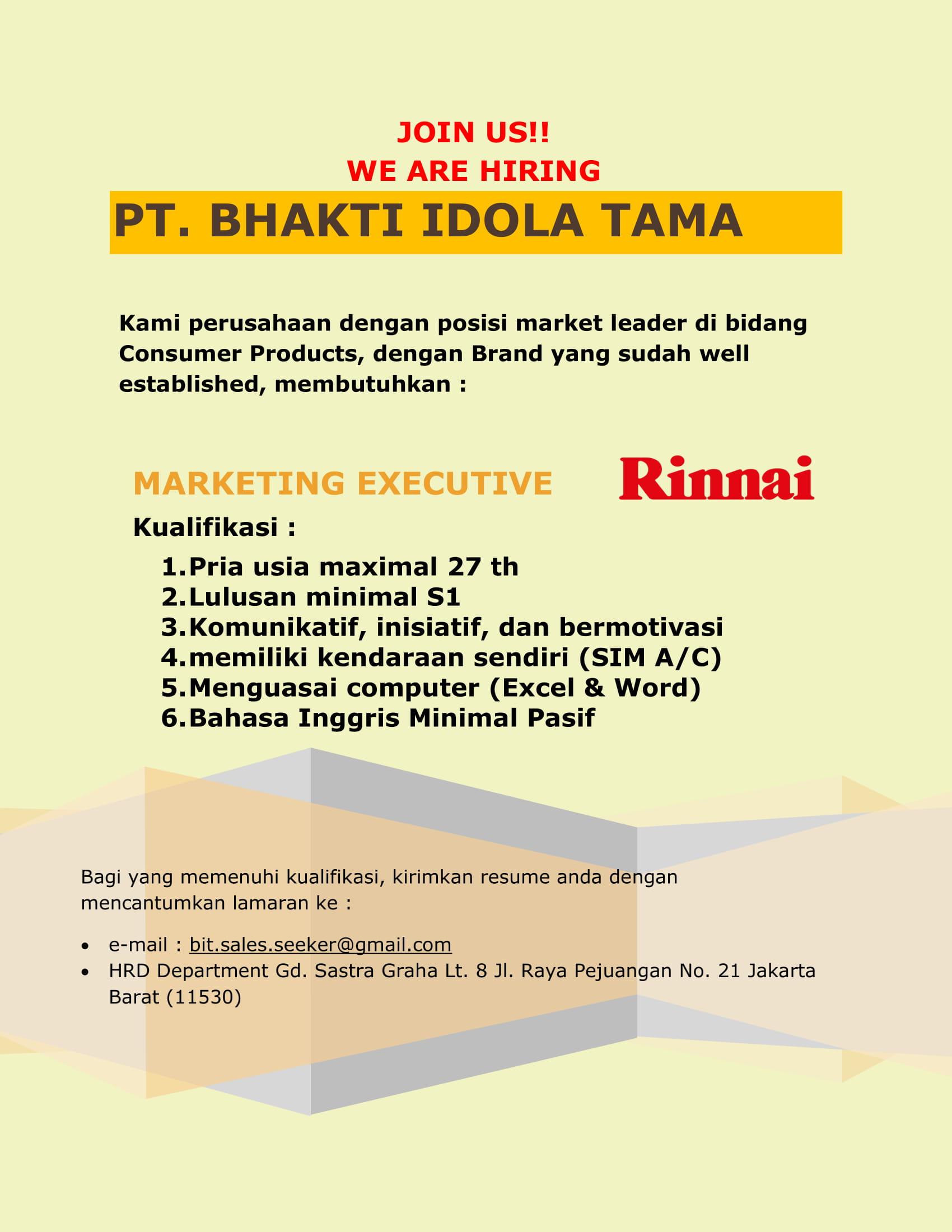 Lowongan Kerja PT. Bhakti Idola Tama