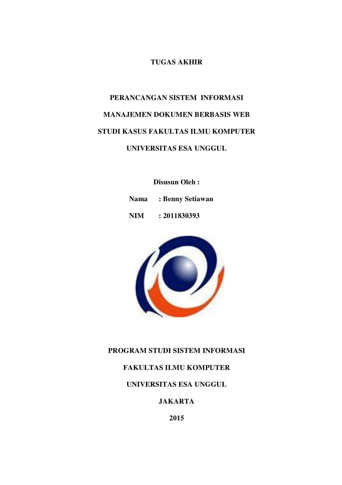 Perancangan Sistem Informasi Manajemen Dokumen Berbasis Web Studi Kasus Fakultas Ilmu Komputer Universitas Esa Unggul