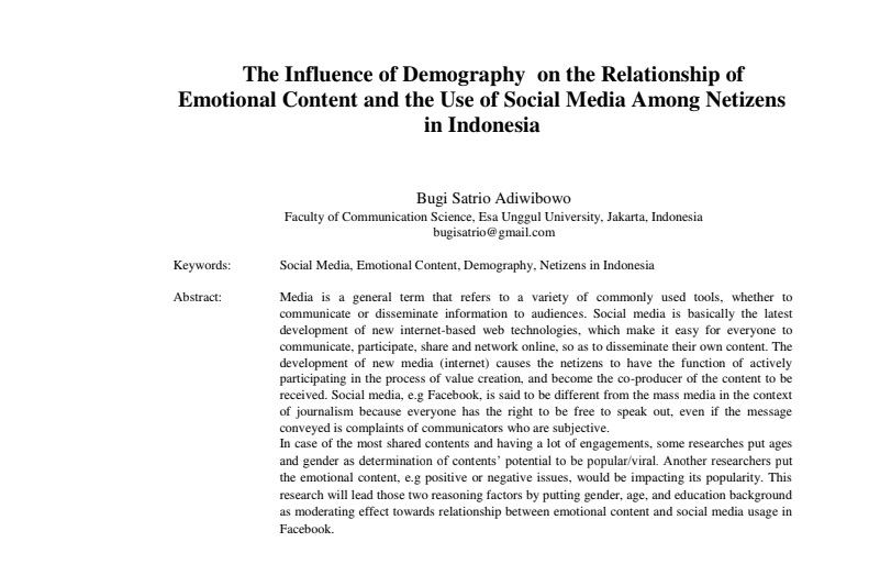 The Influence of Demography on the Relationship of Emotional Content and the Use of Social Media Among Netizens in Indonesia