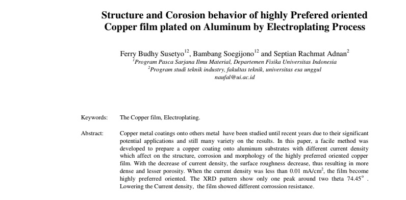 Structure and Corosion behavior of highly Prefered oriented Copper film plated on Aluminum by Electroplating Process