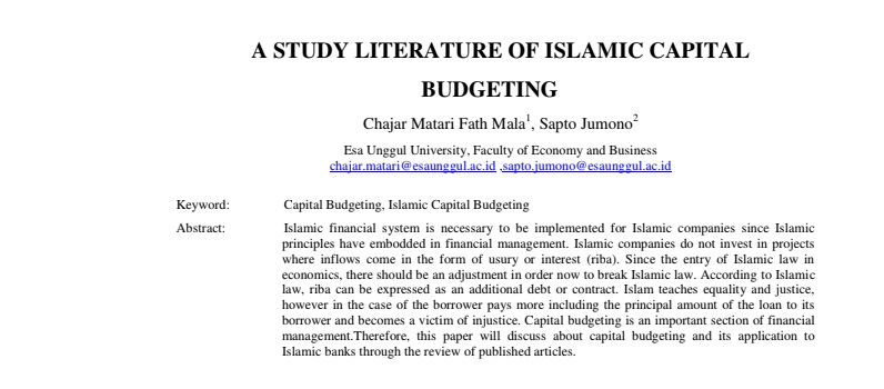 A Study Literature Of Islamic Capital Budgeting