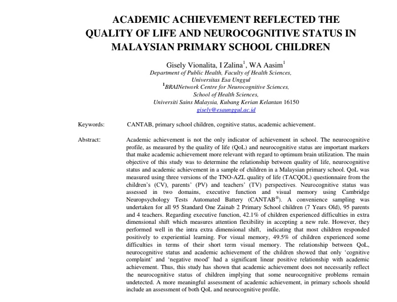 Academic Achievement Reflected The Quality Of Life And Neurocognitive Status In Malaysian Primary School Children