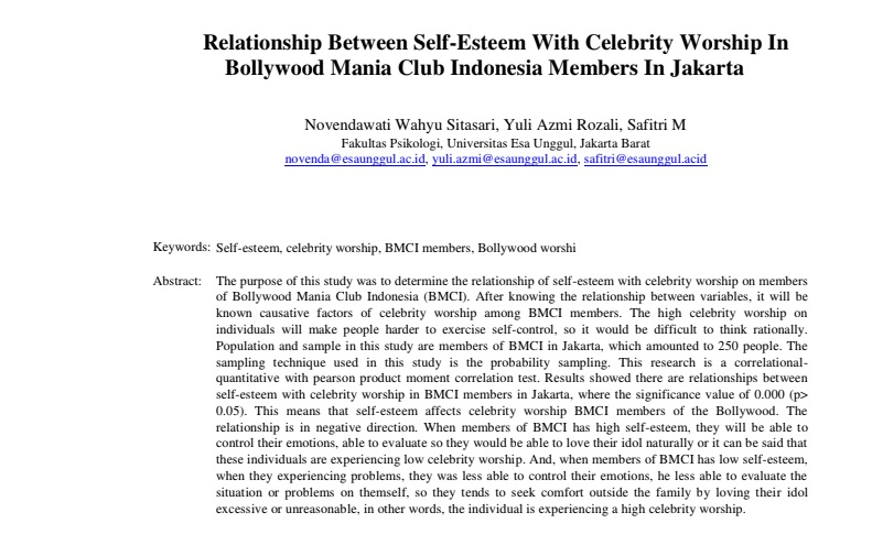 Relationship Between Self-Esteem With Celebrity Worship In Bollywood Mania Club Indonesia Members In Jakarta