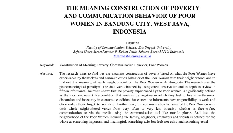 The Meaning Construction Of Poverty And Communication Behavior Of Poor Women In Bandung City, West Java, Indonesia