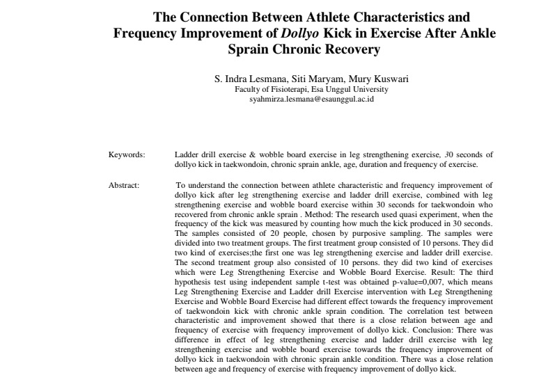 The Connection Between Athlete Characteristics and Frequency Improvement of Dollyo Kick in Exercise After Ankle Sprain Chronic Recovery
