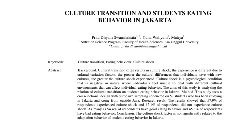 Culture Transition And Students Eating Behavior In Jakarta
