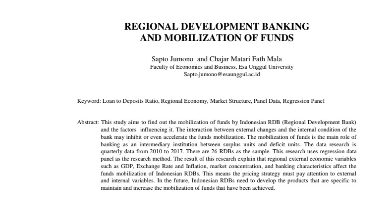 Regional Development Banking And Mobilization Of Funds