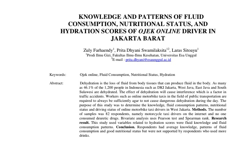 Knowledge And Patterns Of Fluid Consumption, Nutritional Status, And Hydration Scores Of Ojek Online Driver In Jakarta Barat