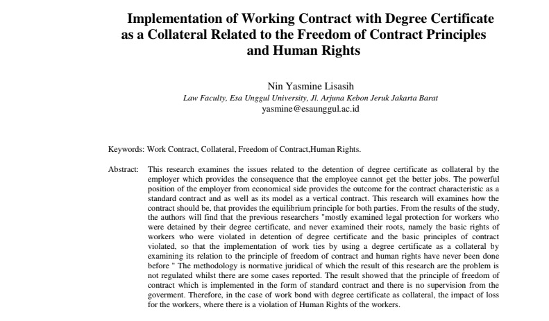 Implementation of Working Contract with Degree Certificate as a Collateral Related to the Freedom of Contract Principles and Human Rights