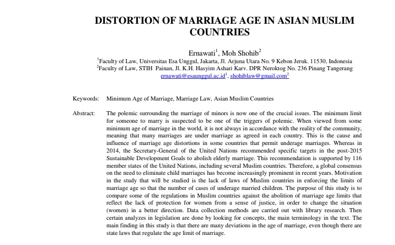 Distortion Of Marriage Age In Asian Muslim Countries
