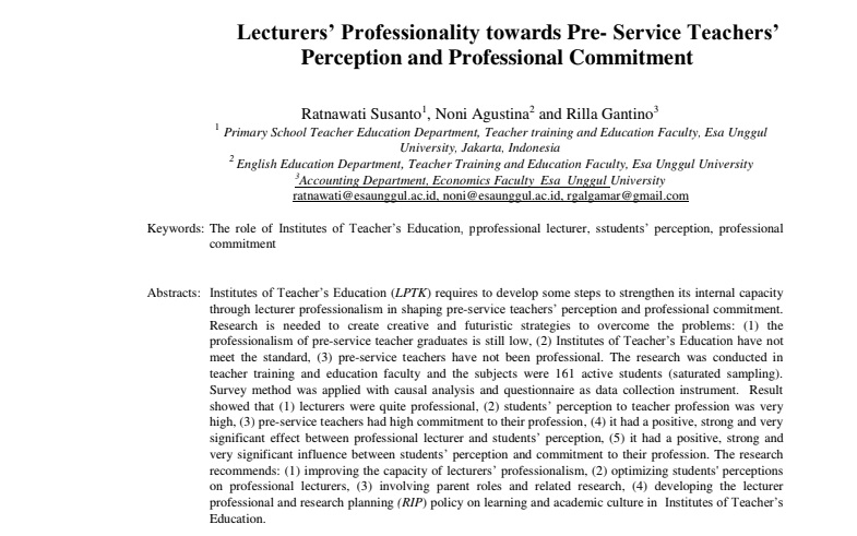 Lecturers' Professionality towards Pre- Service Teachers' Perception and Professional Commitment