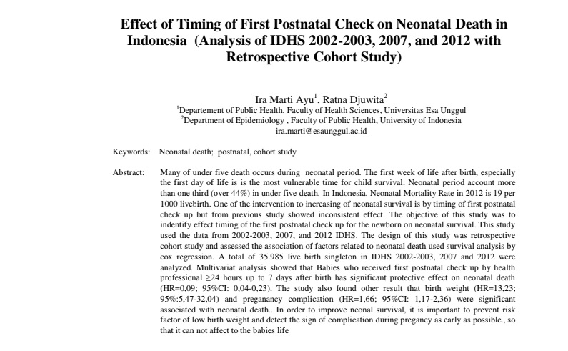 Effect of Timing of First Postnatal Check on Neonatal Death in Indonesia (Analysis of IDHS 2002-2003, 2007, and 2012 with Retrospective Cohort Study)