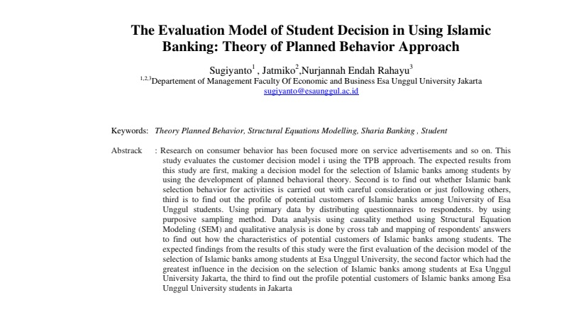 The Evaluation Model of Student Decision in Using Islamic Banking: Theory of Planned Behavior Approach