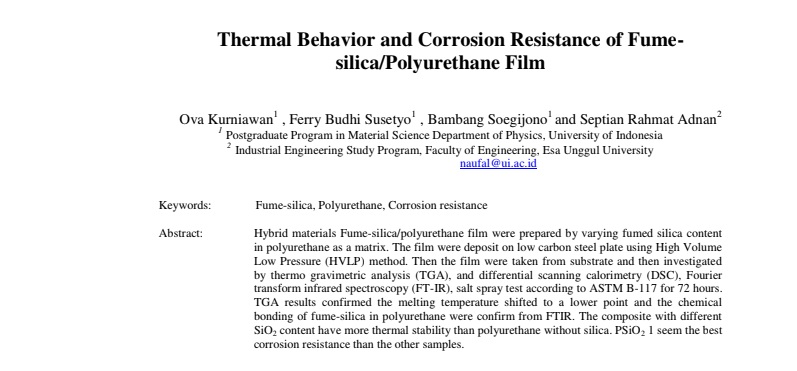 Thermal Behavior and Corrosion Resistance of Fume-silica/Polyurethane Film