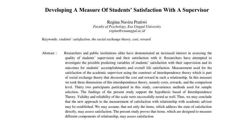Developing A Measure Of Students' Satisfaction With A Supervisor