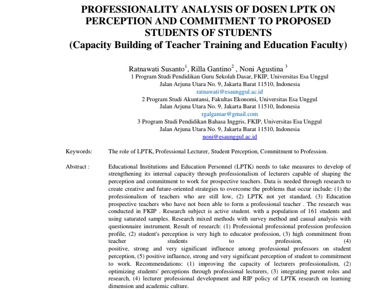 Professionality Analysis Of Dosen LPTK On Perception And Commitment To Proposed Students Of Students (Capacity Building of Teacher Training and Education Faculty)