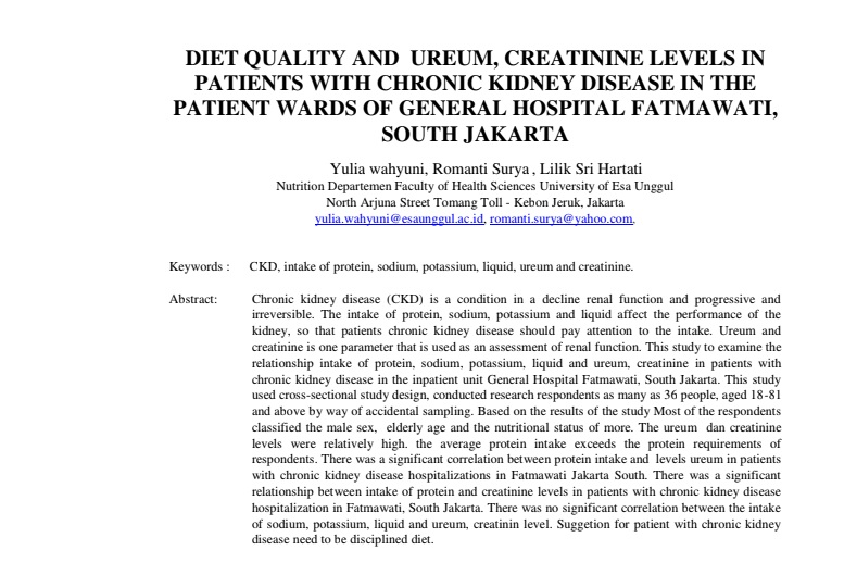 Diet Quality And Ureum, Creatinine Levels In Patients With Chronic Kidney Disease In The Patient Wards Of General Hospital Fatmawati, South Jakarta