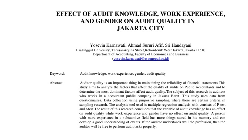 Effect Of Audit Knowledge, Work Experience, And Gender On Audit Quality In Jakarta City