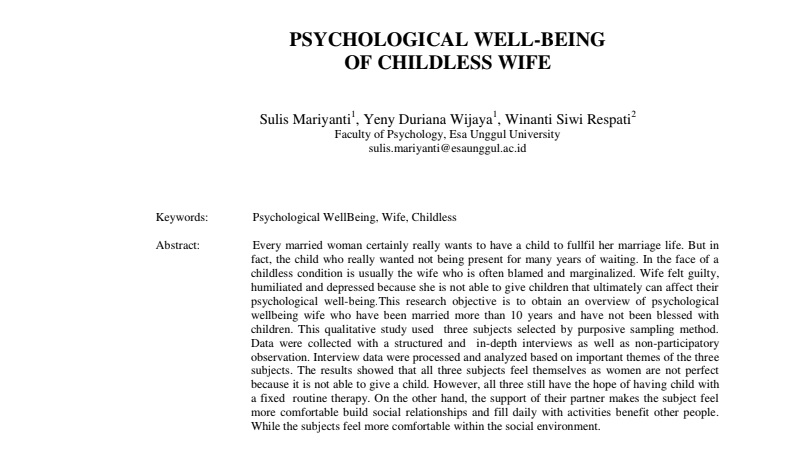 Psychological Well-Being Of Childless Wife