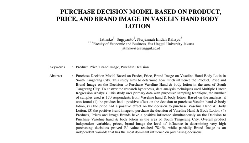 Purchase Decision Model Based On Product, Price, And Brand Image In Vaselin Hand Body Lotion