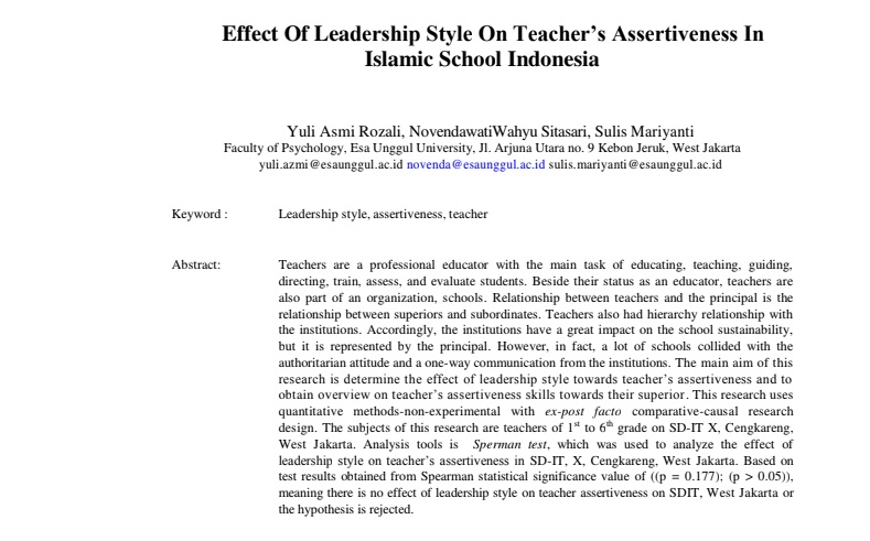 Effect Of Leadership Style On Teacher's Assertiveness In Islamic School Indonesia