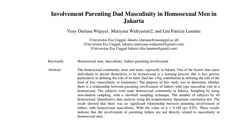 Involvement Parenting Dad Masculinity in Homosexual Men in Jakarta