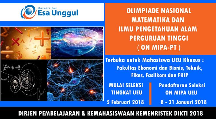 Lomba Olimpiade Nasional Matematika dan Ilmu Pengetahuan Alam Perguruan Tinggi 2018 Tingkat Universitas Esa Unggul