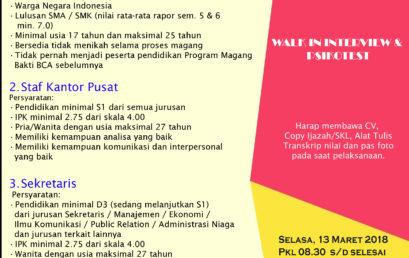 Campus Hiring PT. BANK CENTRAL ASIA Tbk