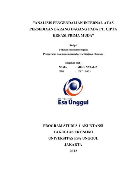 Analisis Pengendalian Internal atas Persediaan Barang Dagang pada PT. Cipta Kreasi Prima Muda