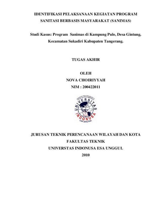 Identifikasi Pelaksanaan Kegiatan Program Sanitasi Berbasis Masyarakat (Sanimas)