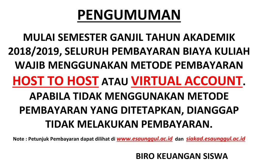 Tata Cara Pembayaran HOST TO HOST dan Virtual Account