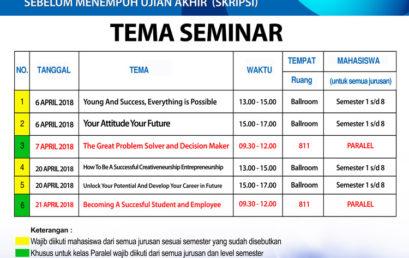 Jadwal Seminar Bulan April Mahasiswa Universitas Esa Unggul 2018