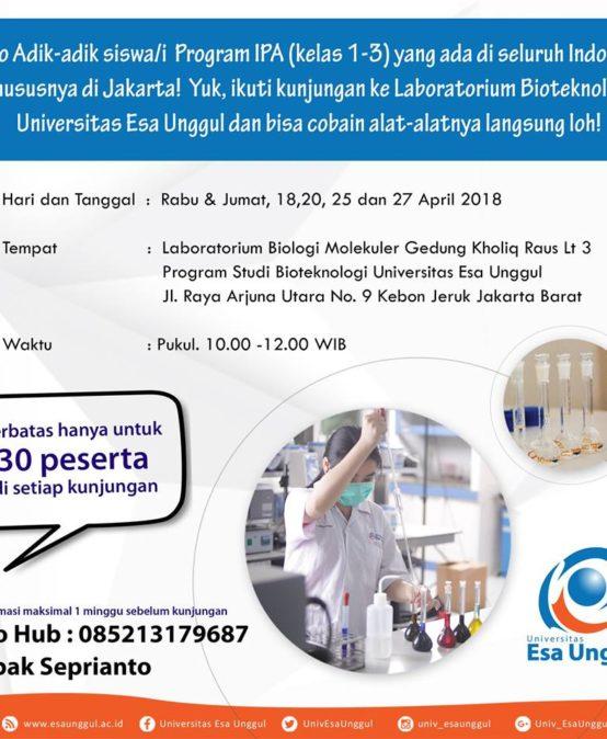 Yuk Ikuti Kunjungan ke Laboratorium Bioteknologi Universitas Esa Unggul