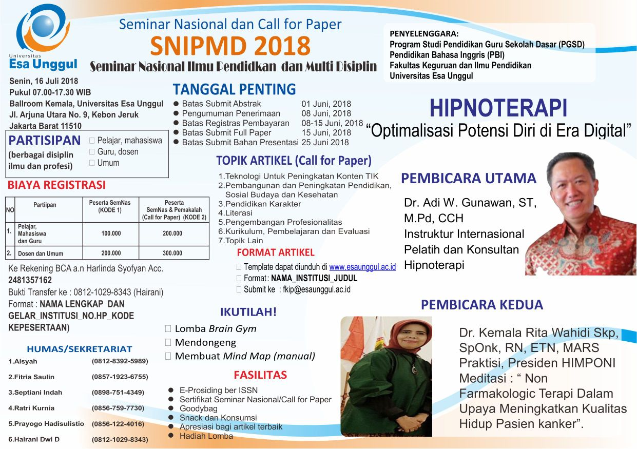 Yuk Hadiri Seminar Nasional dan Call for Paper Ilmu Pendidikan dan Multidisiplin SNIPMD 2018