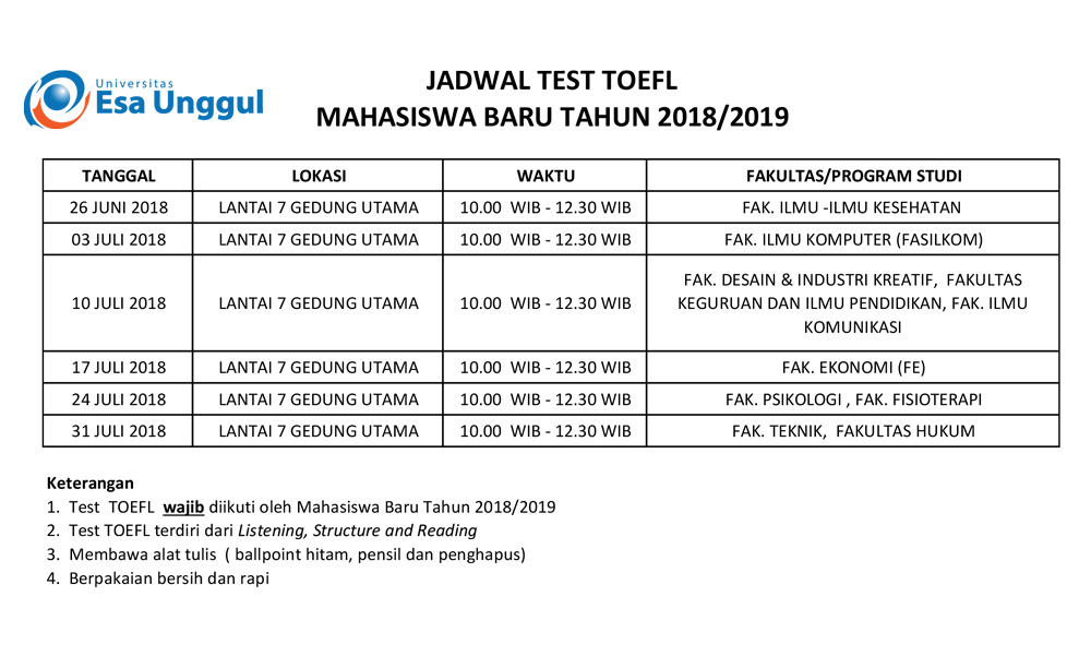 Jadwal Test Toefl Mahasiswa Baru Program Reguler 2018/2019
