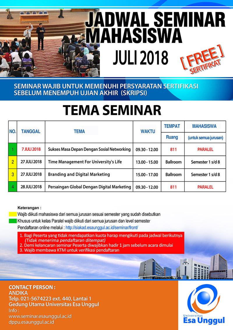 Jadwal Seminar Bulan November – Desember Mahasiswa Universitas Esa Unggul 2018