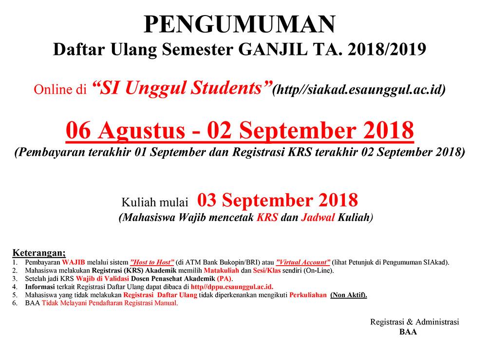 Pengumuman Registrasi Daftar Ulang Semester Ganjil TA. 2018/2019