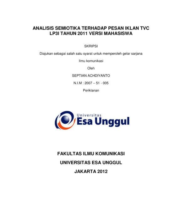 Analisis Semiotika Terhadap Pesan Iklan Tvc Lp3i Tahun 2011 Versi Mahasiswa
