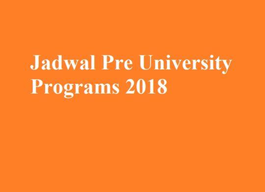 Jadwal Pre University Programs 2018