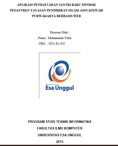 Aplikasi Pendaftaran Santri Baru Pondok Pesantren Yayasan Pendidikan Islam Assyafeiyah Purwakarta Berbasis Web