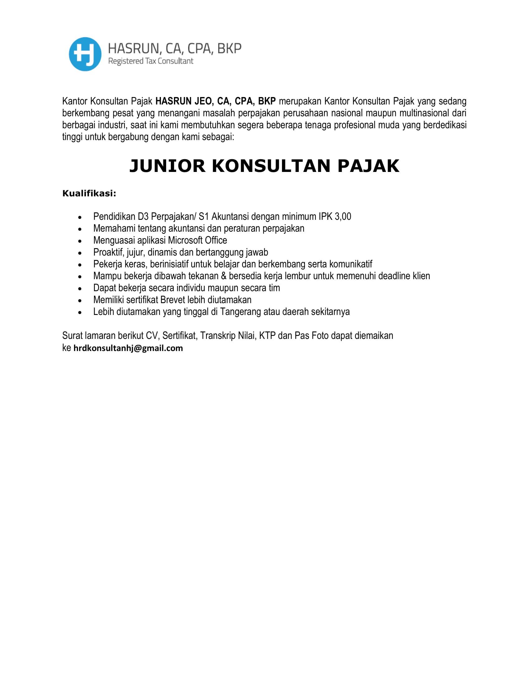 Lowongan Kerja PT. HARUN, CA, CPA, BKP