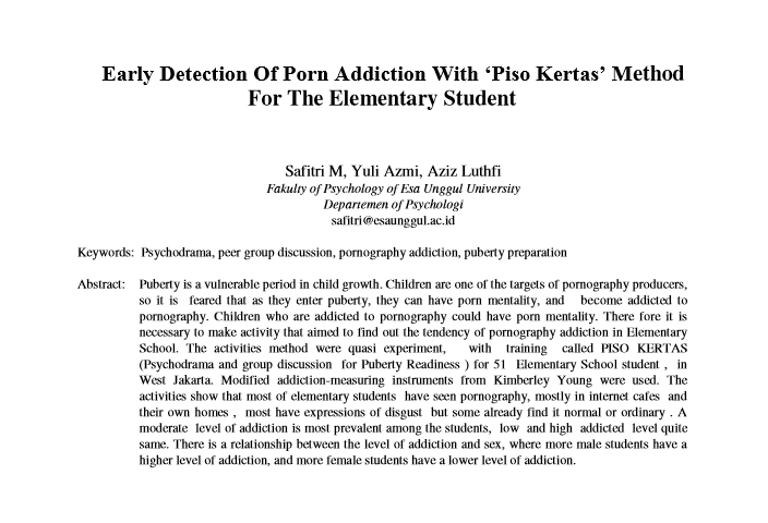 Early Detection Of Porn Addiction With 'Piso Kertas' Method For The Elementary Student