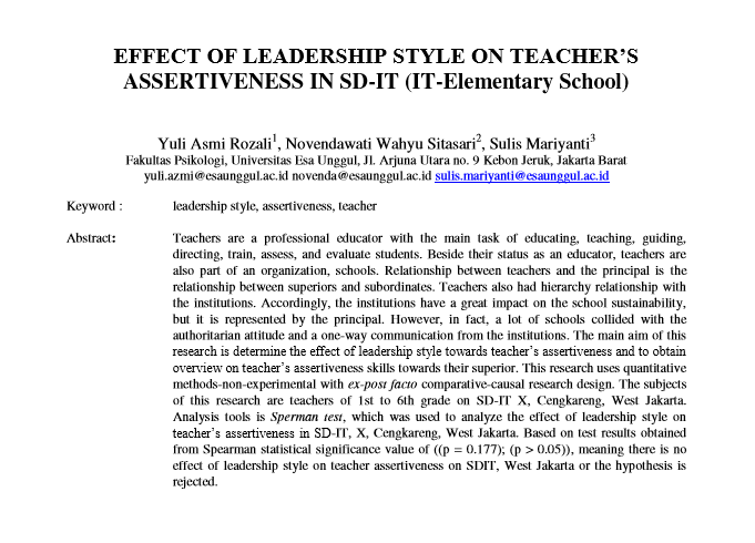 Effect of Leadership Style on Teacher's Assertiveness in SD-IT (IT-Elementary School)