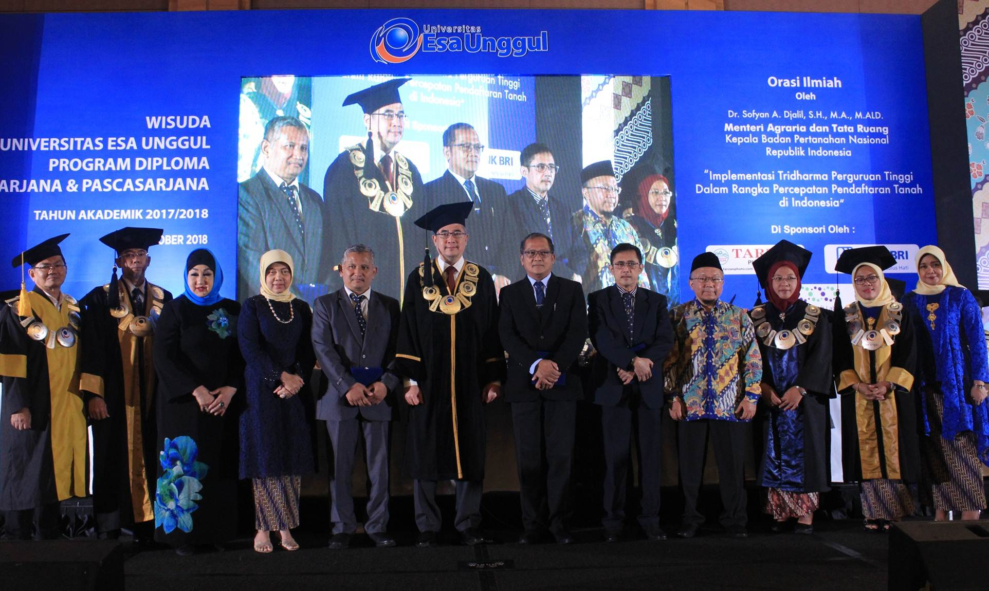 Foto Bersama Rektor Esa Unggul Dr.Ir. Arief Kusuma, M.B.A dengan Dirjen Infrastruktur Keagrariaan ATR BPN Ir. R.M. Adi Darmawan