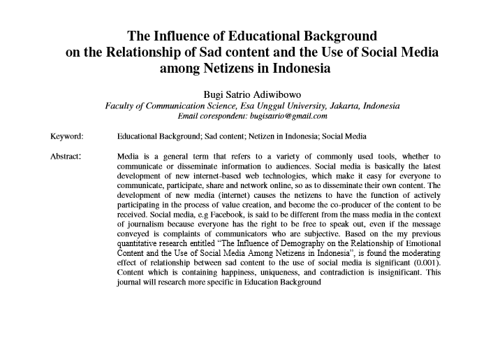 The Influence of Educational Background on the Relationship of Sad content and the Use of Social Media among Netizens in Indonesia