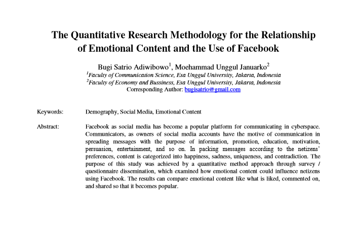 The Quantitative Research Methodology for the Relationship of Emotional Content and the Use of Facebook