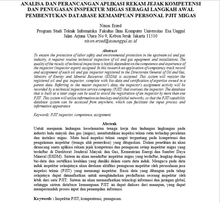 Analisa Dan Perancangan Aplikasi Rekam Jejak Kompetensi Dan Penugasan Inspektur Migas Sebagai Langkah Awal Pembentukan Database Kemampuan Personal PJIT Migas