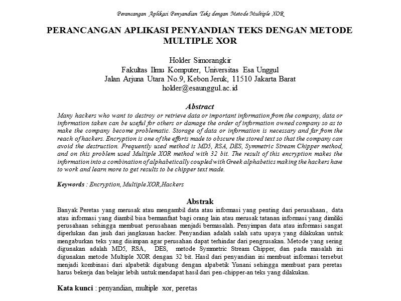 Perancangan Aplikasi Penyandian Teks Dengan Metode Multiple XOR