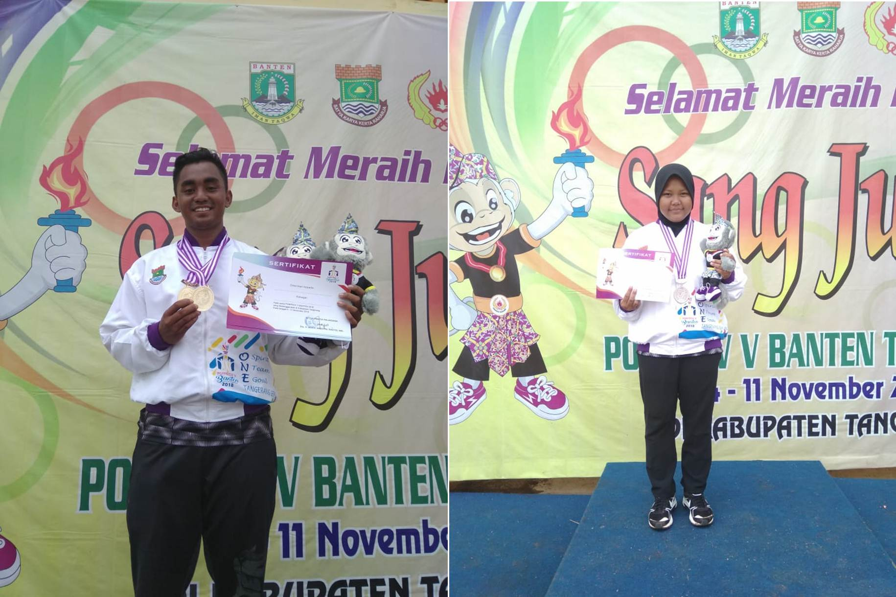 Reza (Kiri) Aprilia (Kanan) Saat Mendapatkan Piagam dan Medali di Kejuaraan Porpov Banten