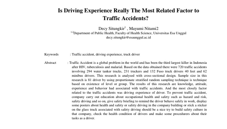 Is Driving Experience Really The Most Related Factor to Traffic Accidents?